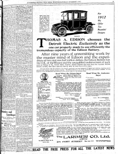1911 Detroit Electric Ad from the Winnipeg Free Press