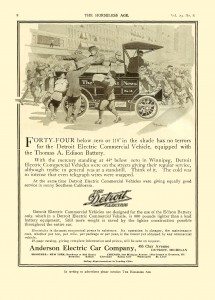 Advertisement for 1912 Detroit Electric